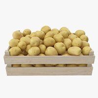 3D potatoes yellow wooden crate model