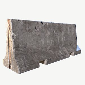 3D pbr concrete barricade model
