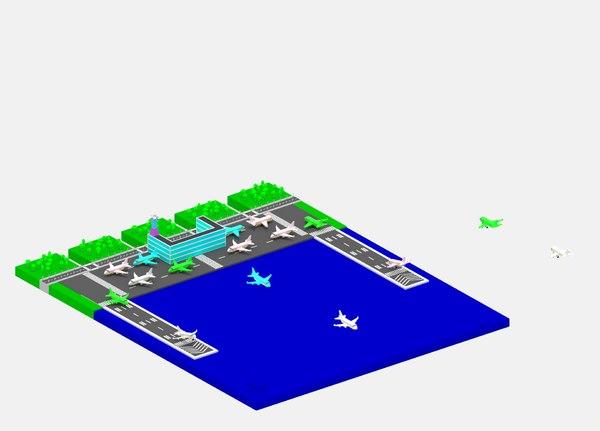 cartoon simple airport package 3D model