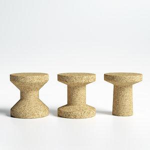 3D cork family vitra stools