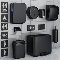 Bathroom accessories set 72 black (Jofel, Brabantia, Satino Black, BXG, Katrin, Viega)