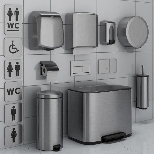 bathroom accessories set 71 3D model