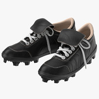 3D model baseball cleats black
