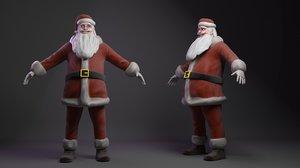 3D cartoon santa claus rig model