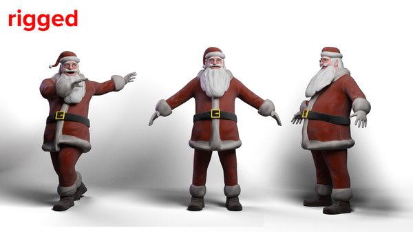 3D cartoon santa claus rig model