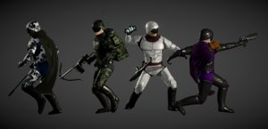 3D sci-fi infantry characters model