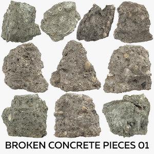 pieces broken concrete 3D model