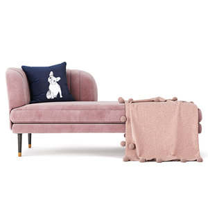home kensington chaise rose 3D model