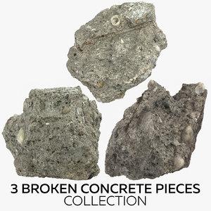 3D model 3 broken concrete pieces