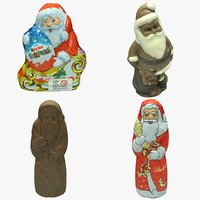 3D chocolate santas