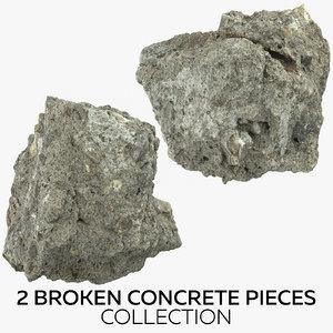 3D 2 broken concrete pieces