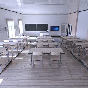 3D school classroom room model
