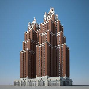 skyscraper bricks stone 3D model