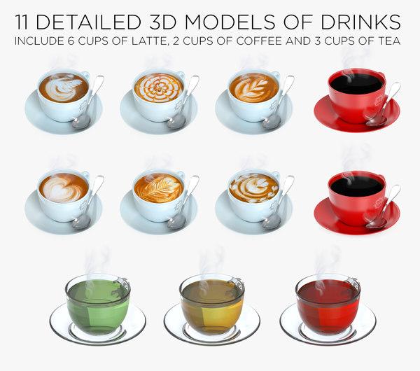 3D cups drinks 11 model