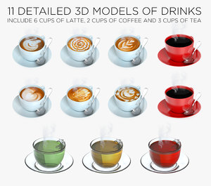 3D cups drinks 11 model