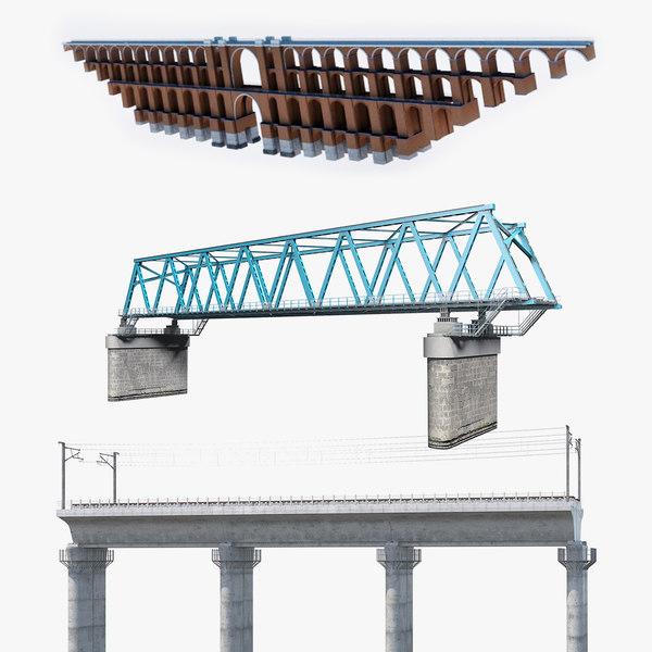 railway bridge rail 3D model