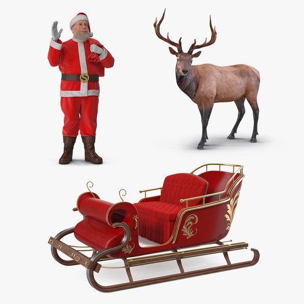santa claus sleigh elk 3D model