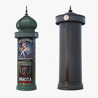 3D vintage advertising column model