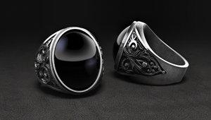 jewellery mens ring stone 3D