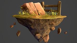 3D environment diorama rock