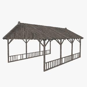 old wooden hangar 3D model