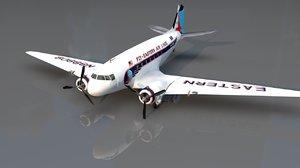 3D douglas dc3 airplane