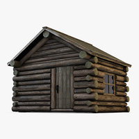 realistic wooden house 3D model