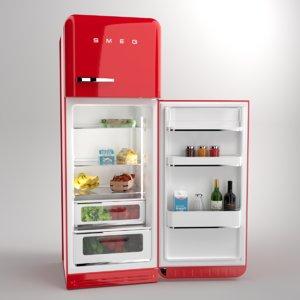 blender smeg fridge red 3D model