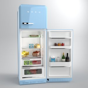 blender smeg fridge blue 3D