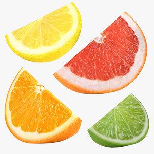 3D model citrus slice