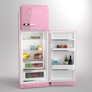 blender smeg fridge pink 3D model