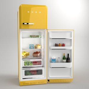3D blender smeg fridge yellow