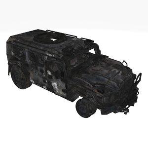 damaged military car 01 3D model