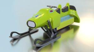 3D snow racing sleigh model