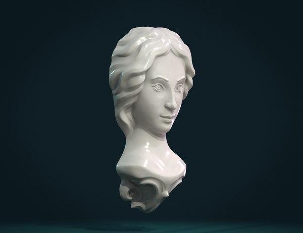 3D print ready girl face model