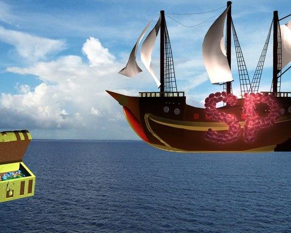 animation ship 3D model