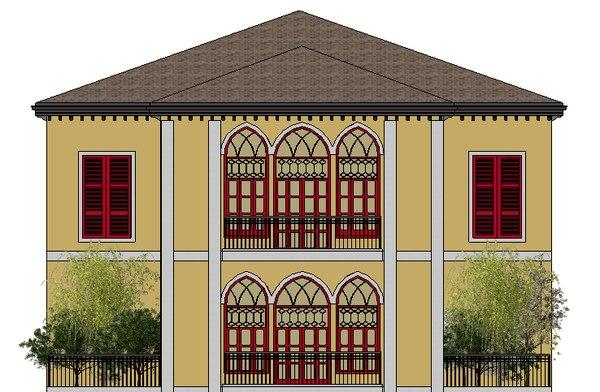 3D arches house lebanese model