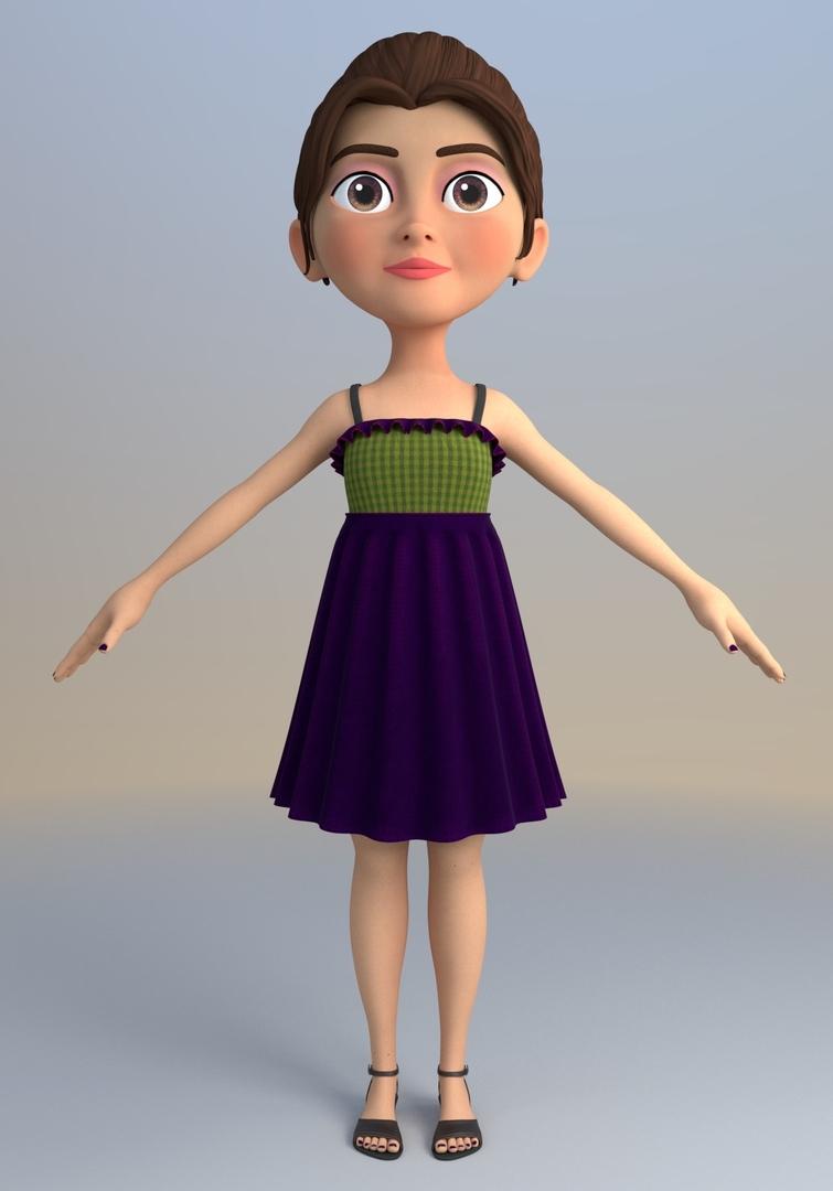 olivia cartoon character 3D