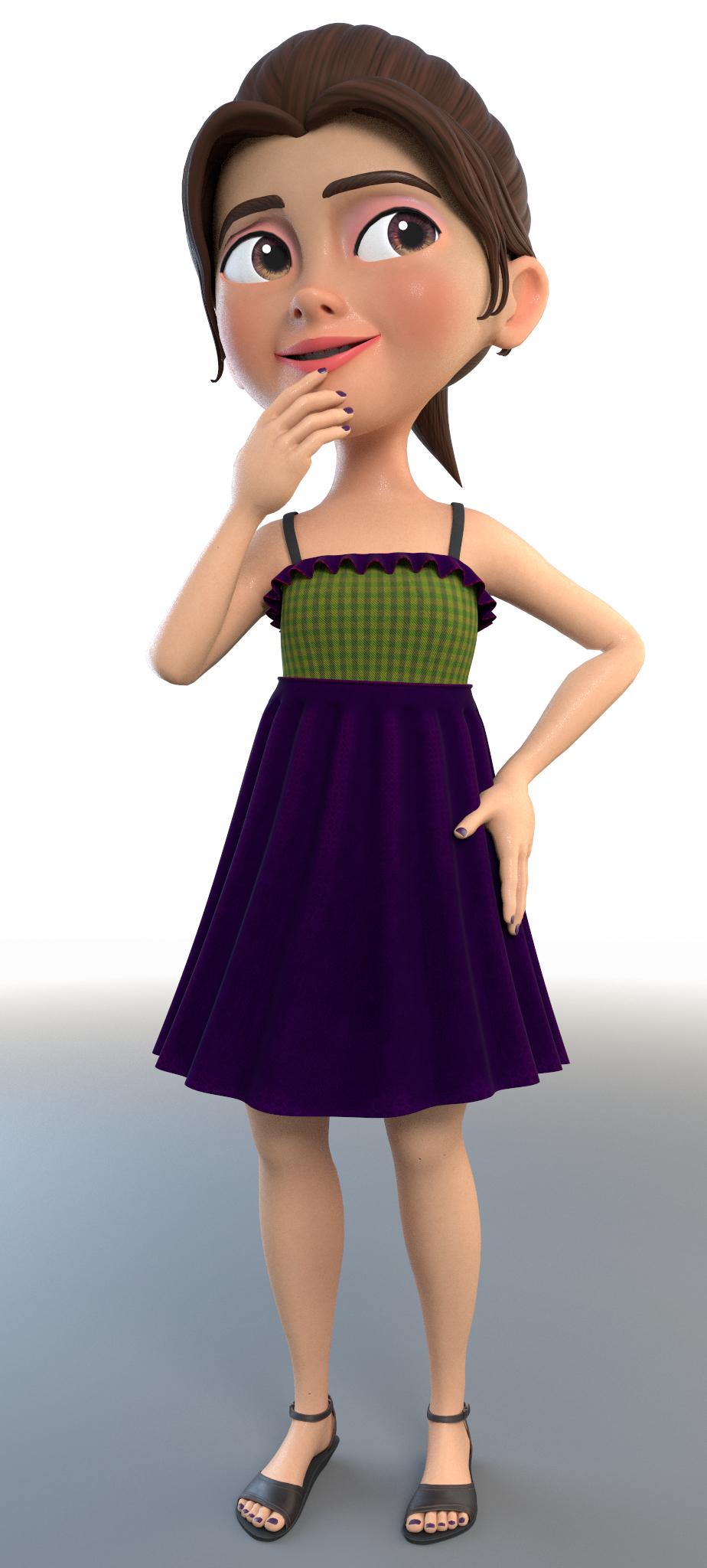 olivia cartoon girl rig character 3D model