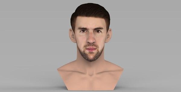 michael phelps bust ready 3D model