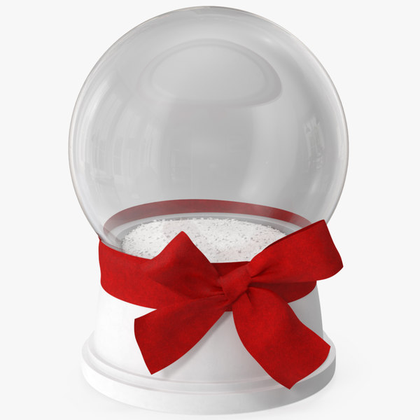 3D model snow globe red bow