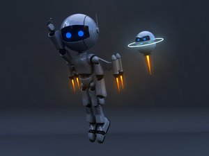 rigged jetpack robot model