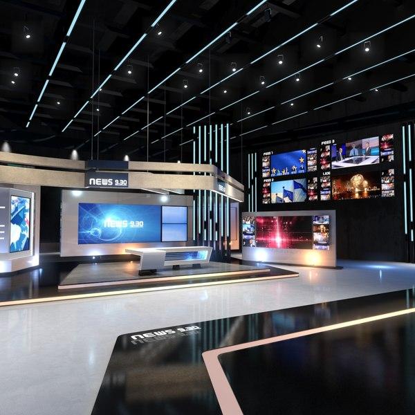 3D virtual set news studio model
