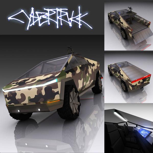 3D model tesla cyber military truck