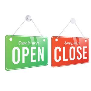 3D model open shop sign
