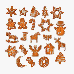gingerbread christmas cookies 3D
