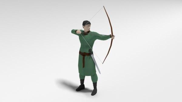 3D archer bow sword model