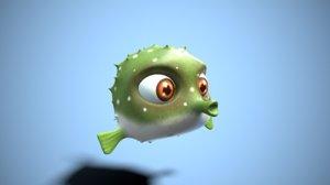 fish cartoon fugu 3D model
