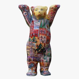 3D united buddy bear colored model