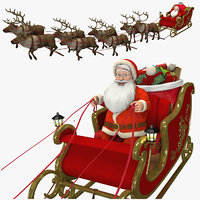 Santa in Sleigh with Reindeers